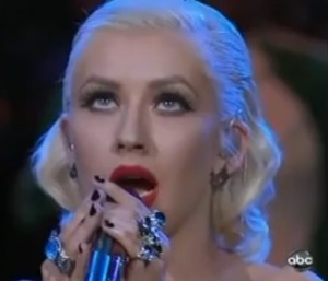 Christina Aguilera singing National Anthem 2010 NBA Finals Video/Pic