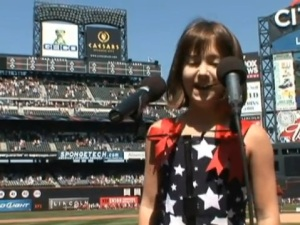 Gina Incandela singing the U.S. National Anthem